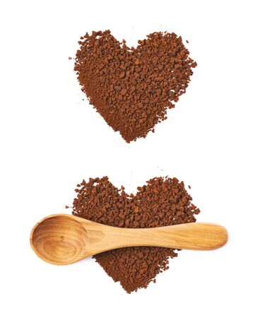 caffiene: Heart shape made of instant coffee grains with the wooden spoon over it, composition isolated over the white background, set of two different foreshortenings