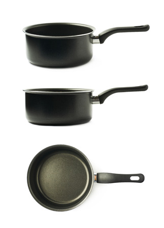 teflon: Teflon coated black sauce pan isolated over the white background, set of three different foreshortenings