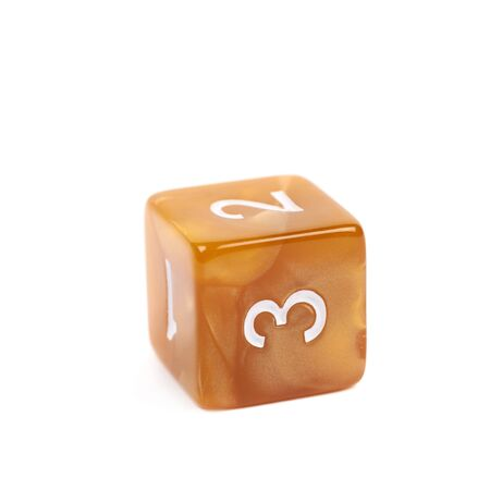roleplaying: Roleplaying orange polyhedral gaming plastic dice cube isolated over the white background