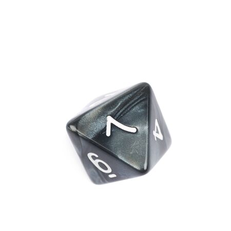 octahedron: Roleplaying black polyhedral octahedron gaming plastic dice isolated over the white background