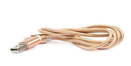 lightning speed: Folded USB lightning golden cable isolated over the white background