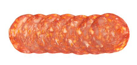 salame: Line of sliced Italian sausage salame ventricina isolated over the white background