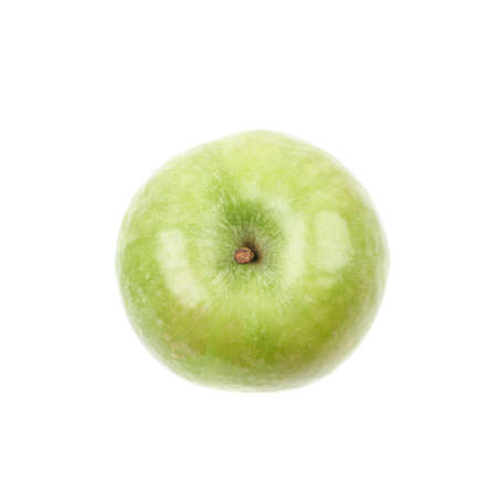 granny smith apple: Single ripe and green granny Smith apple isolated over the white background, top view above foreshortening