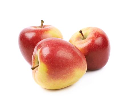 Composition of multiple ripe red and golden jonagold apples isolated over the white background Reklamní fotografie