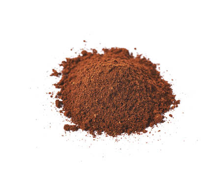 grinded: Pile of the ground coffee flakes isolated over the white background