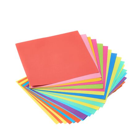 paper sheets: Twisted pile of colorful paper sheets isolated over the white background