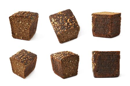 black seeds: Sliced loaf of black seeds bread isolated over the white background, set of six different foreshortenings