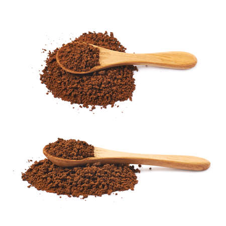 caffiene: Pile of instant coffee grains with the wooden spoon over it, composition isolated over the white background, set of two different foreshortenings