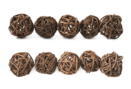 straw twig: Line of decorative colored straw balls isolated over the white background, set of two different foreshortenings
