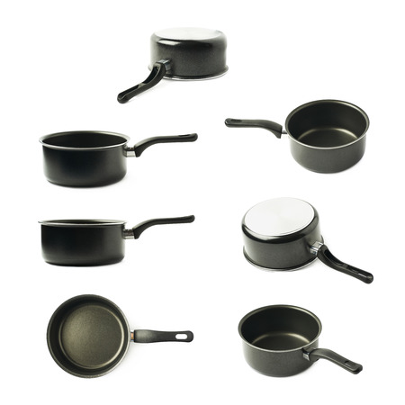coated black sauce pan isolated over the white background, set of seven different foreshortenings
