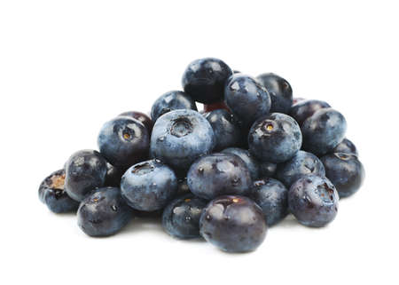 bilberries: Pile of ripe bilberries isolated over the white background
