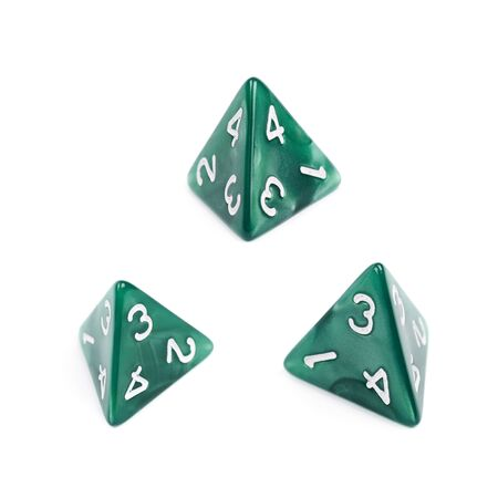 roleplaying: Green roleplaying polyhedral tetrahedron gaming plastic dice isolated over the white background, set of three different foreshortenings