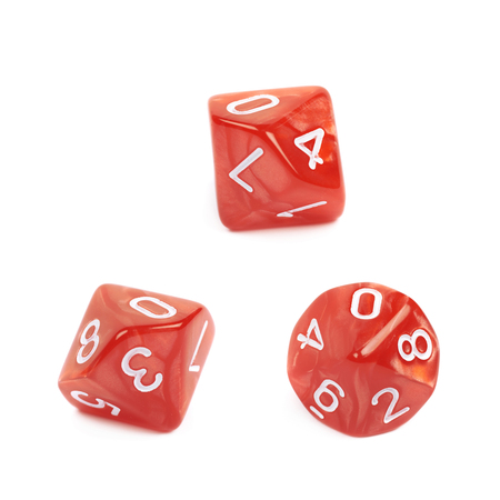roleplaying: Red roleplaying polyhedral heptagonal trapezohedron gaming plastic dice isolated over the white background, set of three different foreshortenings