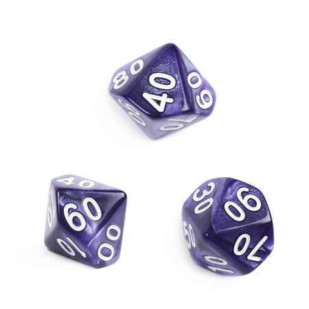 roleplaying: Violet roleplaying polyhedral heptagonal trapezohedron gaming plastic dice isolated over the white background, set of three different foreshortenings
