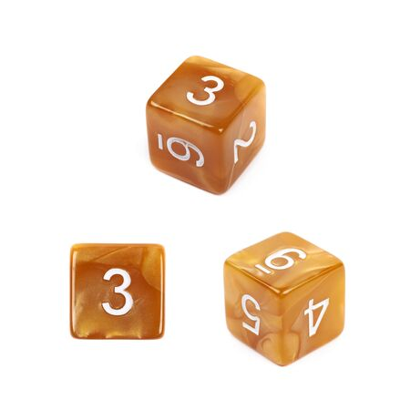 roleplaying: Roleplaying orange polyhedral gaming plastic dice cube isolated over the white background, set of three different foreshortenings Stock Photo