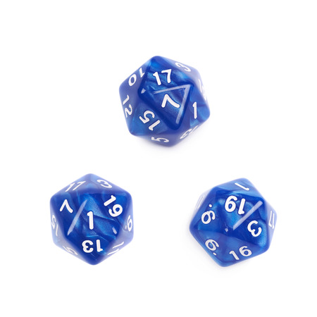 Blue roleplaying polyhedral icosahedron gaming plastic dice isolated over the white background, set of three different foreshortenings Stock Photo