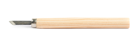 carving tool: Single hand carving wood chisel tool isolated over the white background