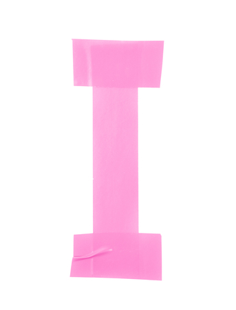 rectángulo: símbolo de la letra I hecha de piezas de cinta aislante, aislada sobre el fondo blanco Foto de archivo