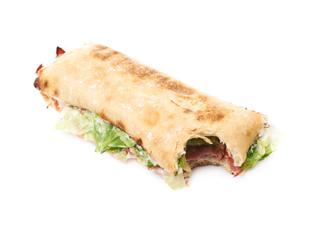 sandwitch: Sub sandwich with a single bite taken of isolated over the white background Stock Photo