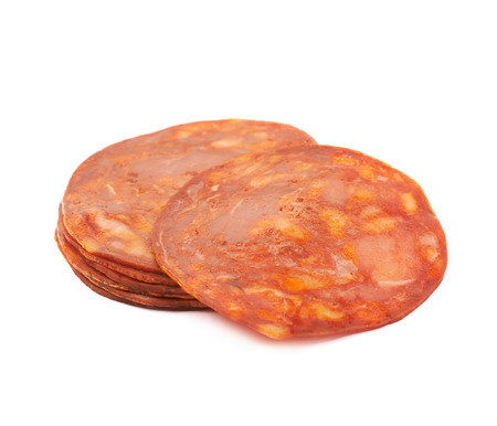 salame: Pile of Italian sausage salame ventricina isolated over the white background