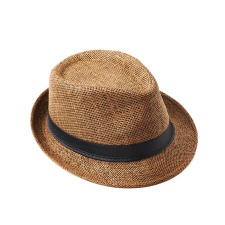 fedora: Brown fedora hat isolated over the white background Stock Photo