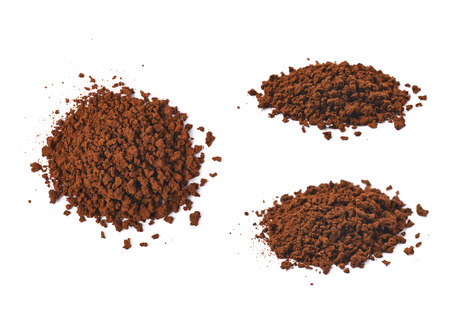 caffiene: Pile of instant coffee grains isolated over the white background, set of three different foreshortenings