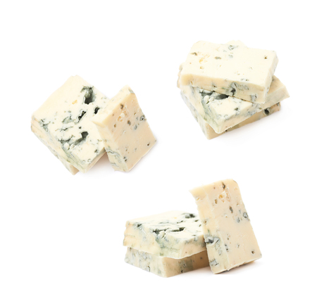 penicillium: Pile of blue cheese slices isolated over the white background, set of three different foreshortenings