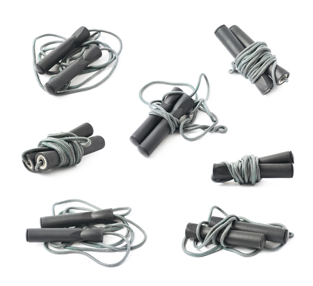 cardiovascular exercising: Folded skipping jumping rope isolated over the white background, set of seven different foreshortenings
