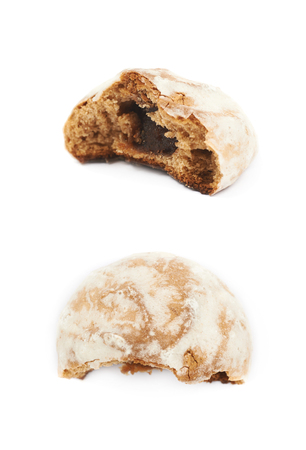 spicecake: Single russian gingerbread cookie isolated over the white background, set of two different foreshortening Stock Photo