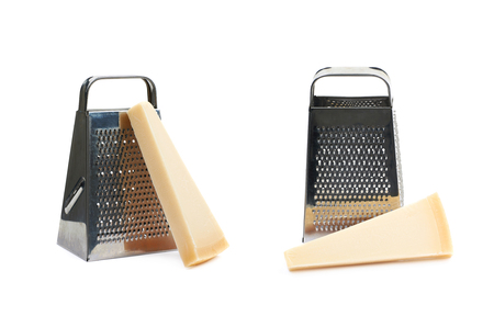 parmezan: Grater and Parmigiano-Reggiano parmesan cheese composition isolated over the white background, set of two different foreshortenings Stock Photo