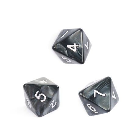 roleplaying: Roleplaying black polyhedral octahedron gaming plastic dice isolated over the white background, set of three different foreshortenings