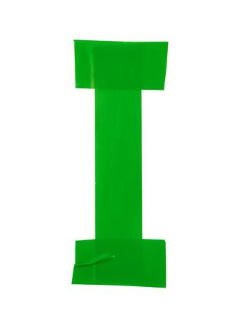 rectángulo: s�mbolo de la letra I hecha de piezas de cinta aislante, aislada sobre el fondo blanco Foto de archivo