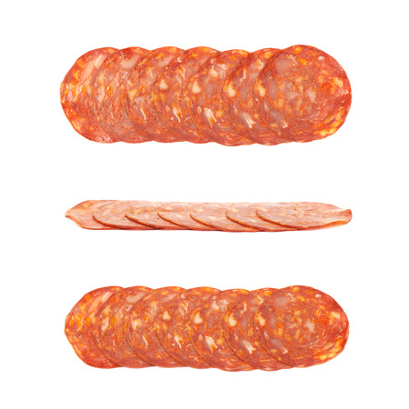 salame: Line of sliced Italian sausage salame ventricina isolated over the white background, set of three different foreshortenings