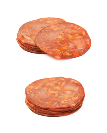 salame: Pile of Italian sausage salame ventricina isolated over the white background, set of two different foreshortenings Stock Photo