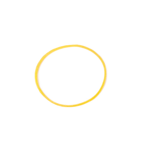 rubberband: Office yellow rubber band isolated over the white background