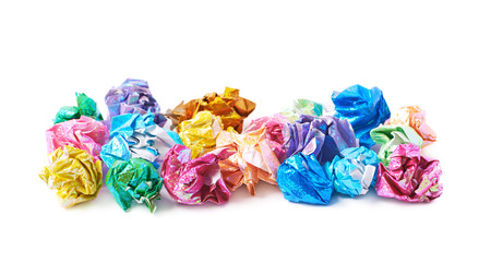 sheet pile: Pile of colorful crumbled origame paper sheet balls isolated over the white background Stock Photo