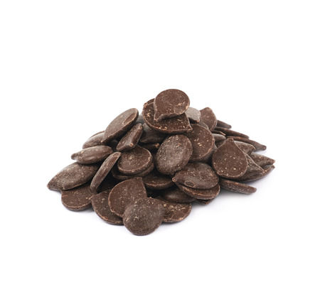 semisweet: Pile of cooking chocolate teardrop shaped chips isolated over the white background