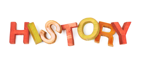 hist: Word History made of colored with paint wooden letters, composition isolated over the white background Stock Photo