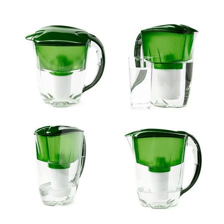 Green water filter pitcher isolated over the white background, set of four different foreshortenings