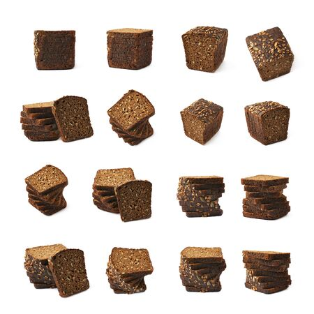 multiple images: Set of multiple black bread images of different compositions and foreshortenings, set of multiple different foreshortenings Stock Photo