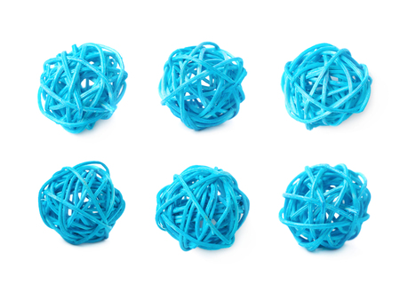 straw twig: Decorative colored straw ball isolated over the white background, set of three different foreshortenings