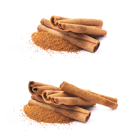cinnamon bark: Pile of cinnamon powder with the raw bark sticks on top of it, composition isolated over the white background, set of two different foreshortenings