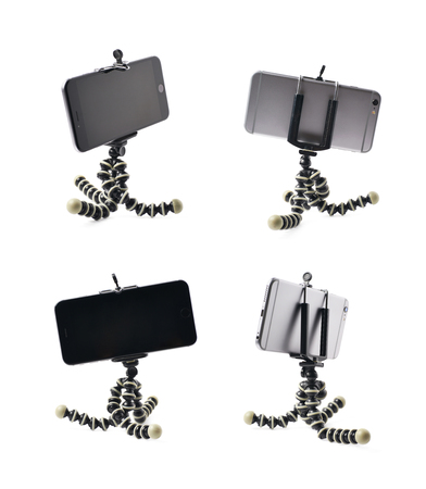 stabilization: Smartphone set up on a tripod isolated over the white background, set of four different foreshortenings