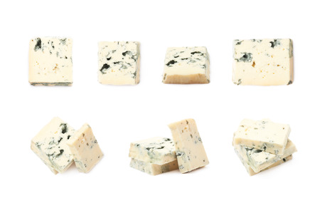 penicillium: Composition of a blue cheese slices isolated over the white background, set of seven different foreshortenings