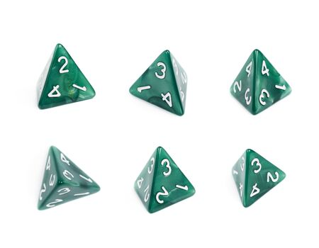 roleplaying: Green roleplaying polyhedral tetrahedron gaming plastic dice isolated over the white background, set of six different foreshortenings Stock Photo