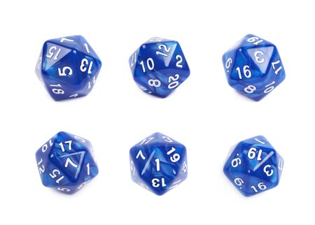 roleplaying: Blue roleplaying polyhedral icosahedron gaming plastic dice isolated over the white background, set of six different foreshortenings Stock Photo