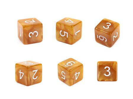 roleplaying: Roleplaying orange polyhedral gaming plastic dice cube isolated over the white background, set of six different foreshortenings