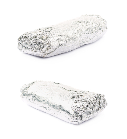 sandwitch: Sub sandwich wrapped in silver metal foil isolated over the white background, set of two different foreshortenings Stock Photo