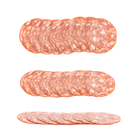 salame: Line of sliced Italian sausage salame napoli isolated over the white background, set of three different foreshortenings Stock Photo