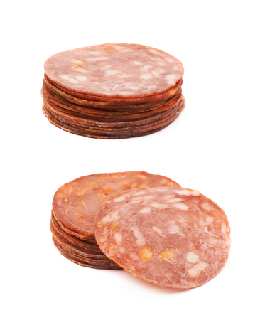 salame: Pile of multiple Italian sausage salame napoli slices isolated over the white background, set of two different foreshortenings Stock Photo